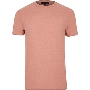 T-shirt en coton gaufré rose cintré