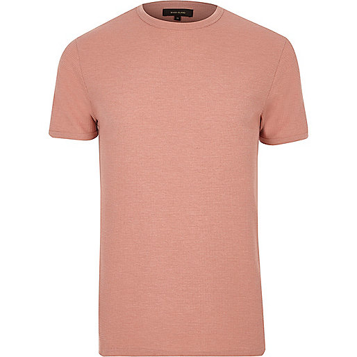 Pink waffle cotton slim fit T-shirt
