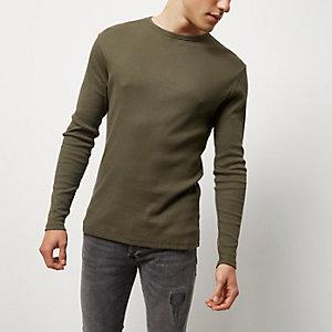 T-shirt côtelé slim vert à manches longues