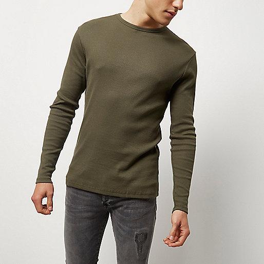 Grünes, langärmliges Slim Fit T-Shirt