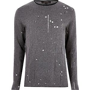 Dark grey laddered slim fit jumper