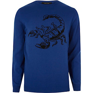 Blue scorpion sweater