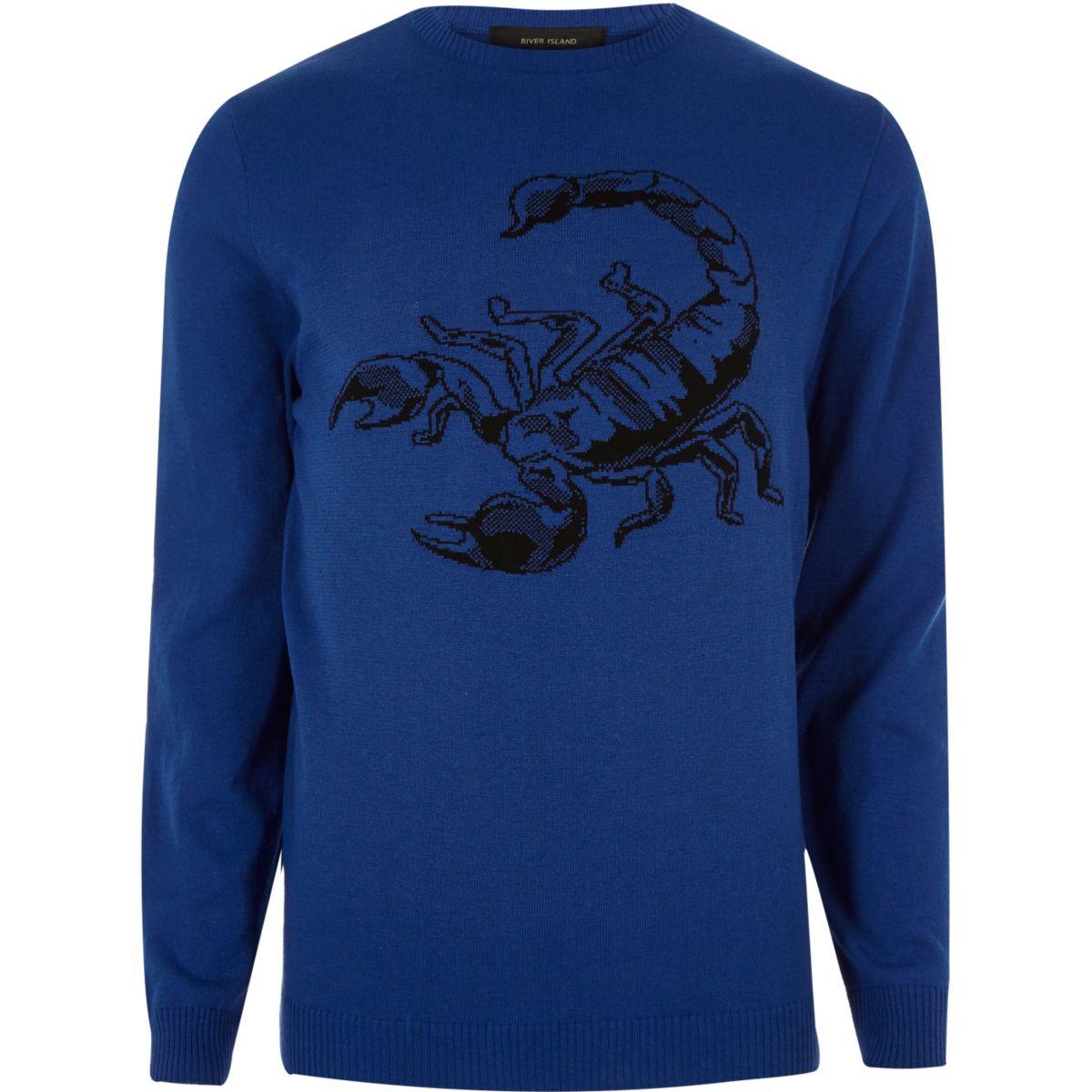 Blauwe pullover met schorpioenenprint