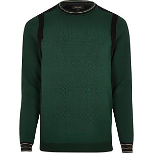 Dark green textured color block sweater