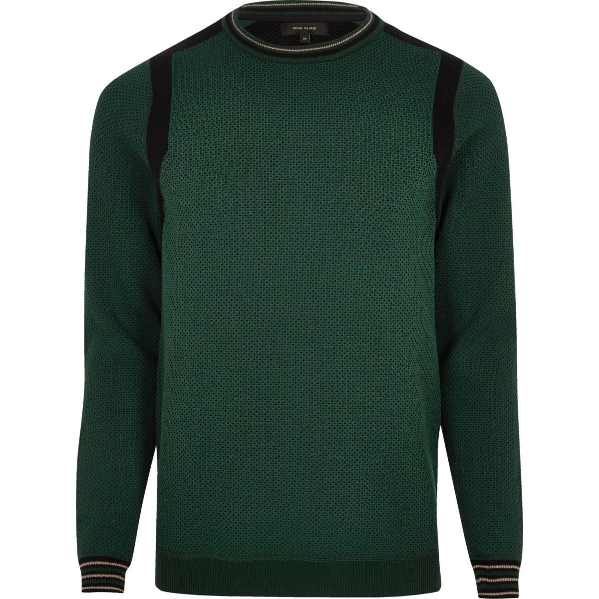 Dark green textured color block sweater