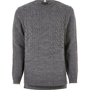Grey graduated cable knit jumper