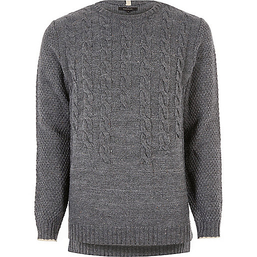 Grey graduated cable knit sweater