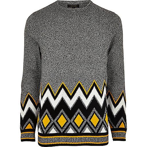 Pull gris à motif zigzags