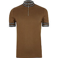 Brown stripe turtleneck polo shirt