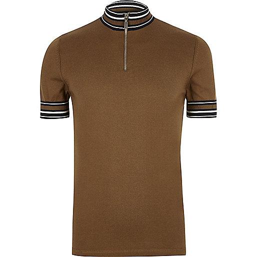 Brown stripe turtleneck polo shirt