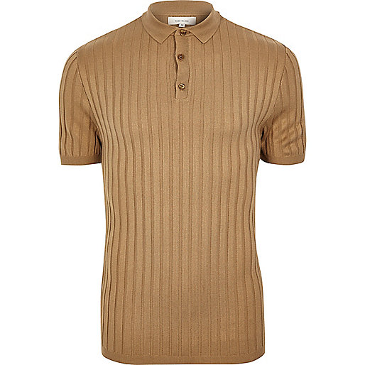 Brown muscle fit ribbed polo shirt