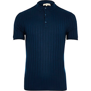 Navy blue muscle fit ribbed polo shirt