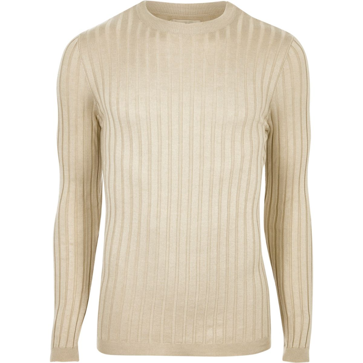 Stone chunky ribbed muscle fit jumper