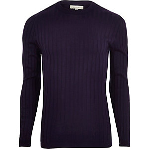 Purple chunky ribbed muscle fit sweater