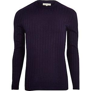 Pull coupe près du corps en maille côtelée épaisse violet