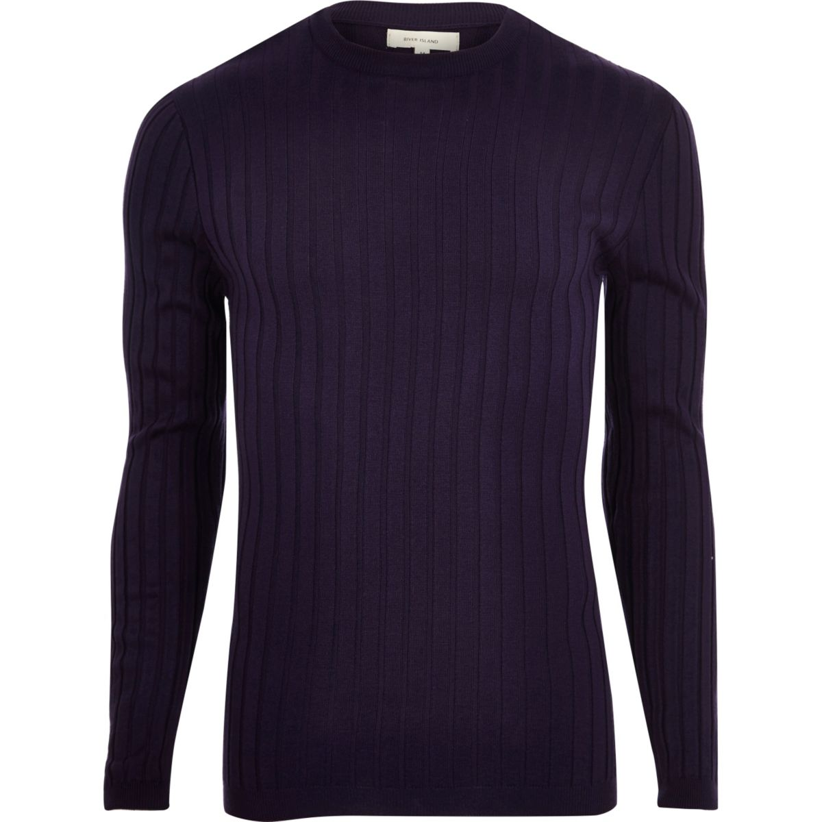 Purple chunky ribbed muscle fit jumper