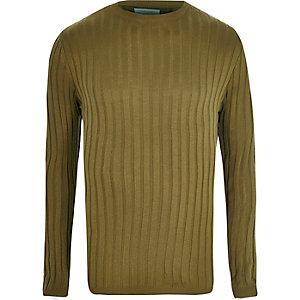 Kakigroene aansluitende pullover met ribbels