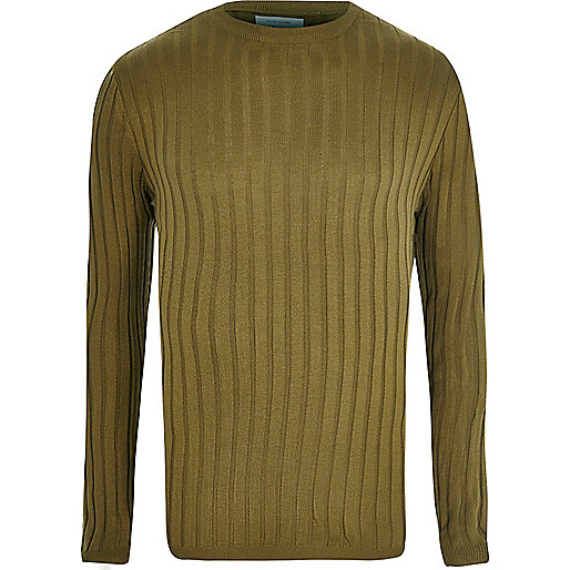 Khaki green ribbed muscle fit jumper