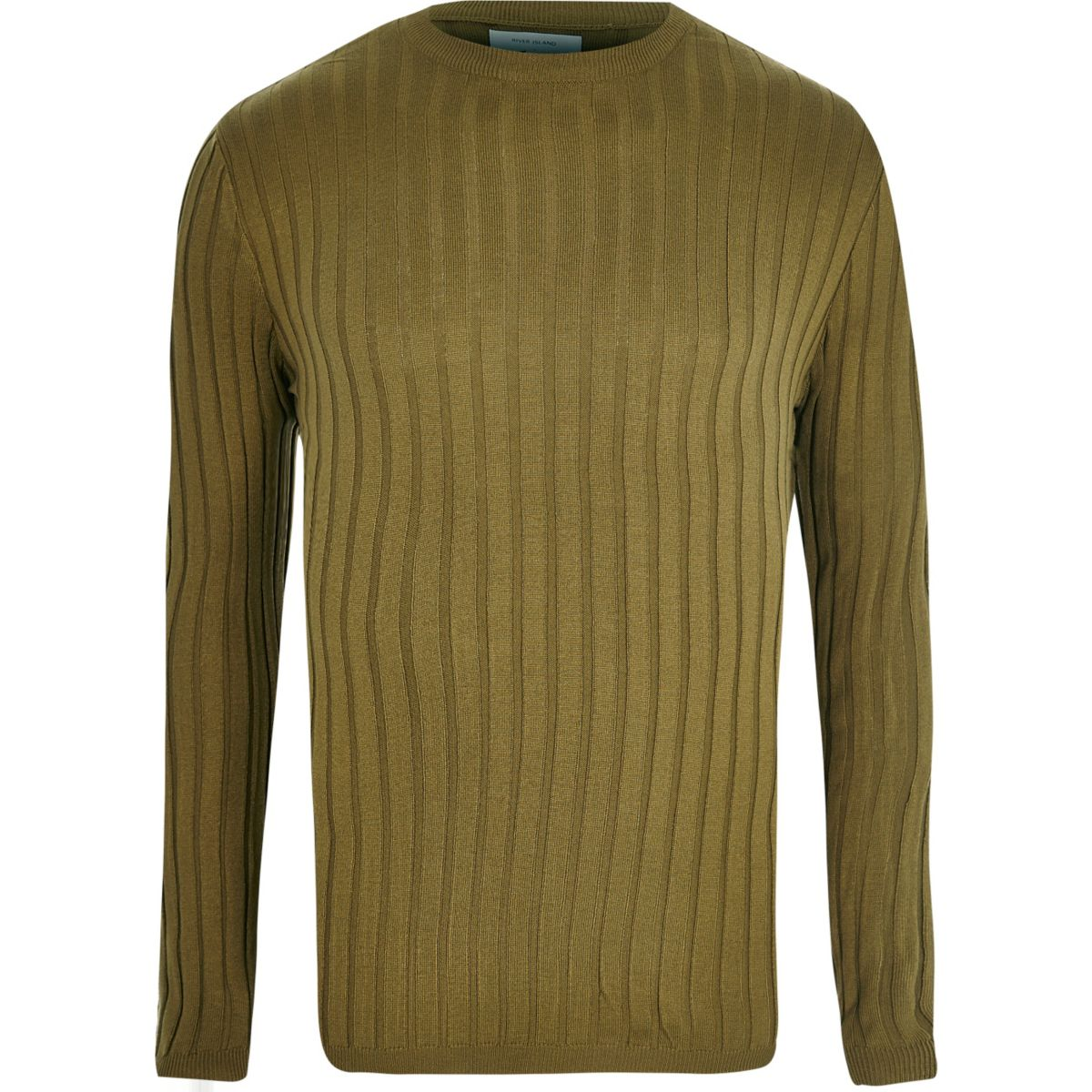 Khaki green ribbed muscle fit sweater