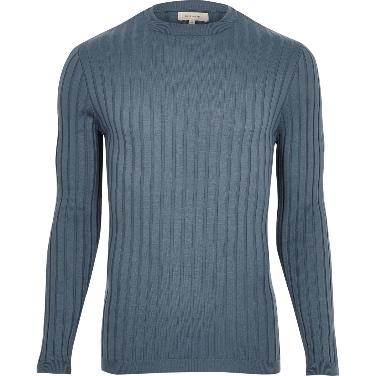Blue muscle fit ribbed top