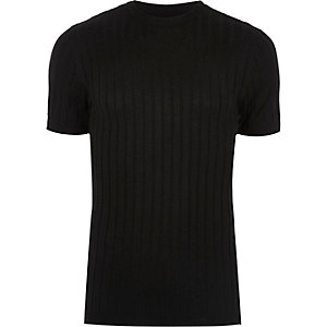 Black chunky ribbed muscle fit T-shirt