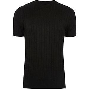 Zwart geribbeld aansluitend T-shirt