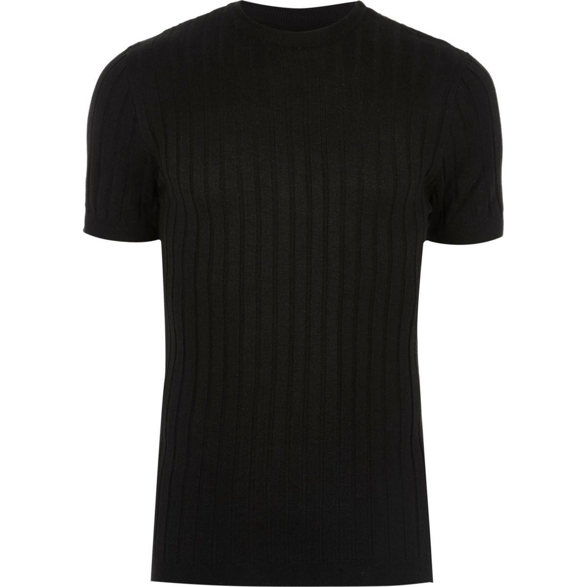 T-shirt ajusté côtelé noir