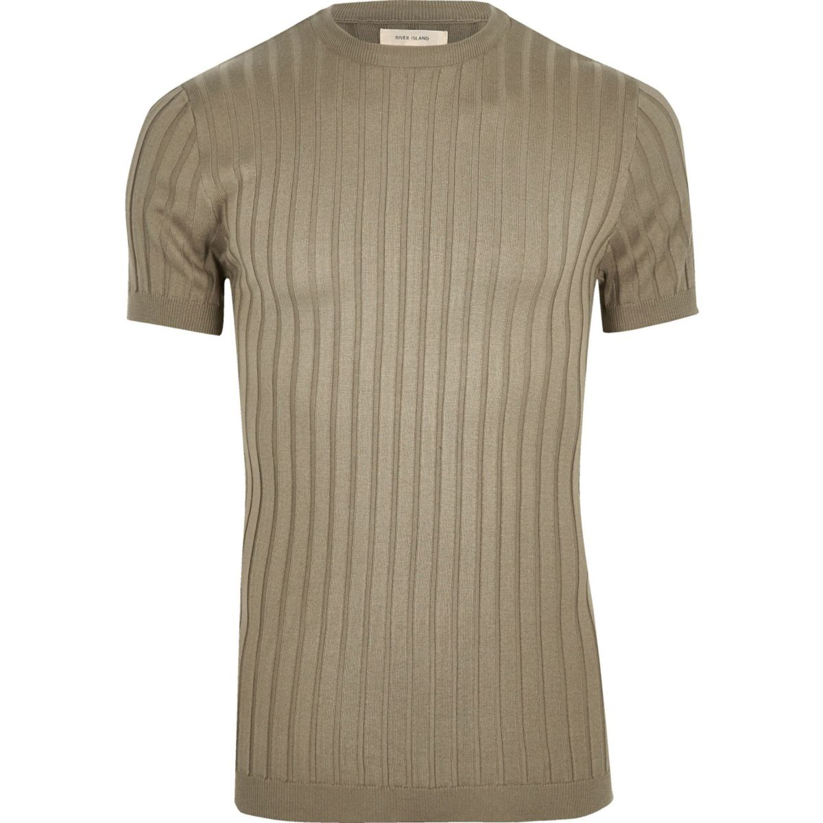 Green chunky ribbed muscle fit T-shirt