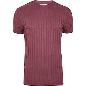 T-shirt en grosse maille côtelée rose coupe près du corps