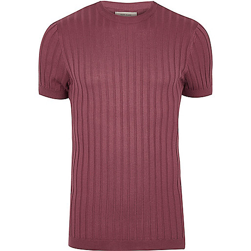 Pink chunky ribbed muscle fit T-shirt