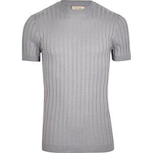 Grijs geribbeld aansluitend T-shirt