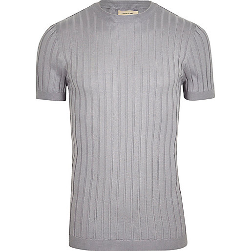 Grey ribbed muscle fit T-shirt