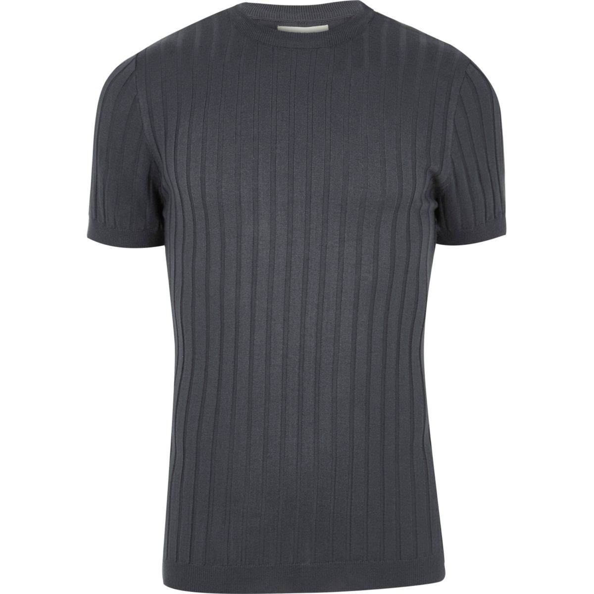 Dark blue chunky ribbed muscle fit T-shirt