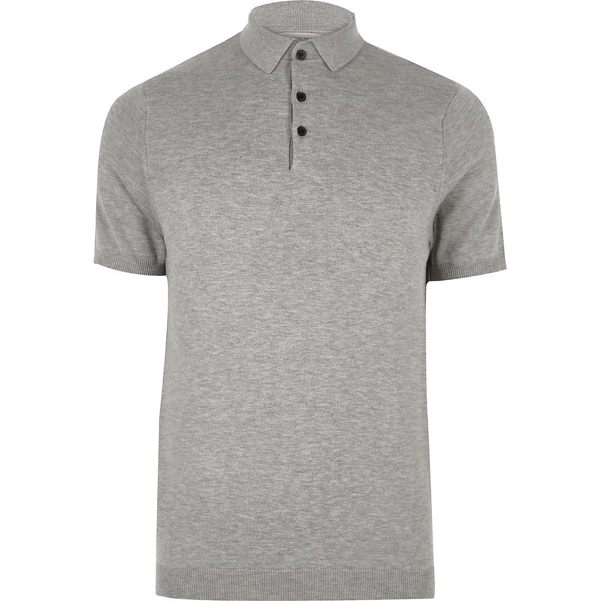 b468079abdd8f Grey slim fit polo shirt - Polo Shirts - Sale - men