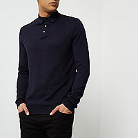 Navy long sleeve polo shirt