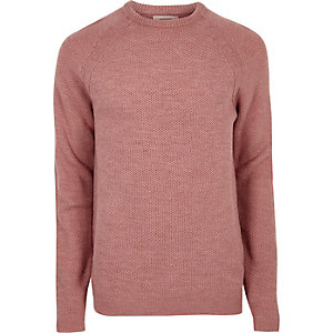 Pink textured knit crew neck jumper
