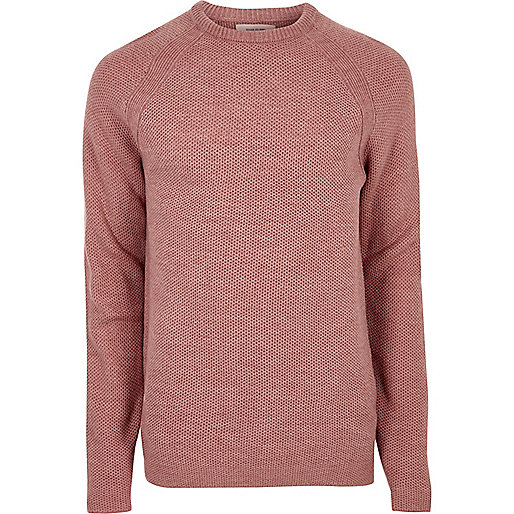Pink textured knit crew neck sweater