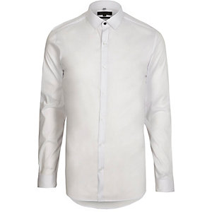 Chemise skinny blanche habillée à manches longues
