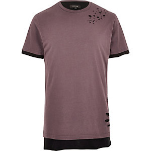 Pink nibbled layered longline T-shirt