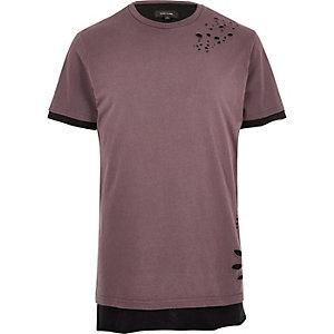 T-shirt coupe longue effet superposé rose aspect usé