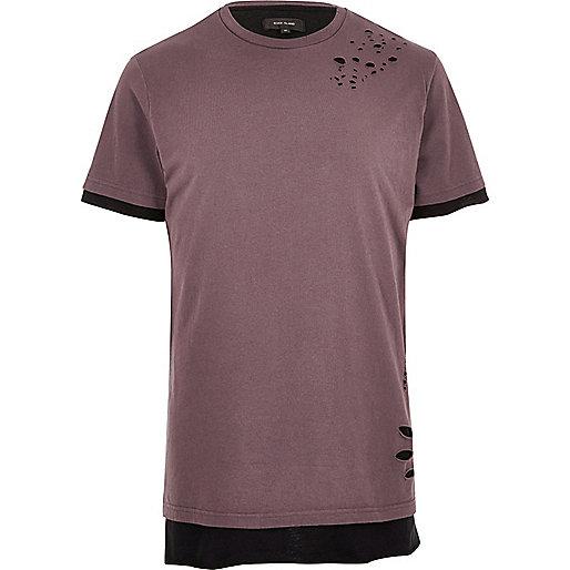Pink distressed layered longline T-shirt