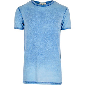 Donkerblauw burnout T-shirt