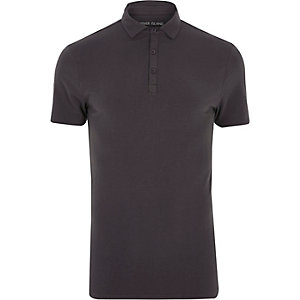 Grey muscle fit polo shirt