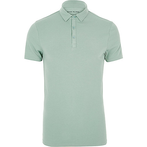 Light green muscle fit polo shirt