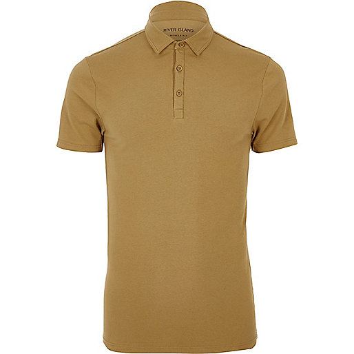 Light brown muscle fit polo shirt