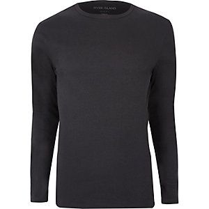 Graues, langärmliges Slim Fit T-Shirt