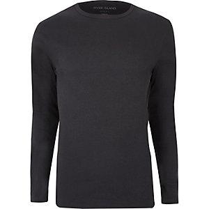 Donkergrijs geribbeld slim-fit T-shirt met lange mouwen