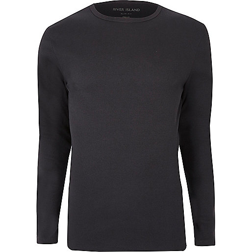 Dunkelgraues, langärmliges Slim Fit T-Shirt