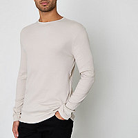 Steingraues, langärmliges Slim Fit T-Shirt