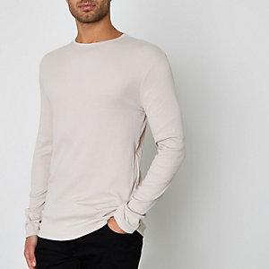 T-shirt grège côtelé ajusté à manches longues